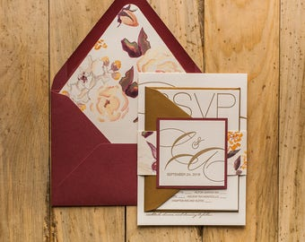 Letterpress Printing - Gold and Burgundy Watercolor Floral Wedding Invitations - SAMPLE (JESSICA)