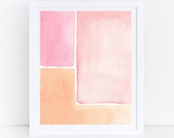 Mid Century Modern Print, Watercolor Printable Art, Pink Orange Print, Abstract Wall Print, Mid Century Modern Wall Art, Pink Watercolor