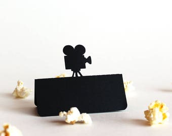 Movie Camera Place Card, Movie wedding, Hollywood wedding, Wedding place card, Wedding escort card