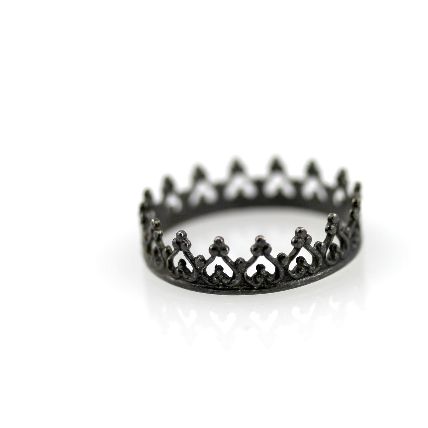 Black crown ring oxidized sterling silver ring