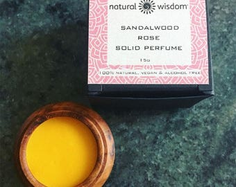 Sandalwood & Rose Solid Perfume by Natural Wisdom. Vegan. Alcohol and Gluten free. 100% natural.