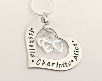 Personalised heart necklace - silver heart necklace - heart name necklace - gift for mum - gift for wife - gift for her, gift from grandkids