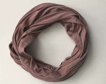 Silk Infinity Scarf - Wine Infinity Scarf - Brown Scarf - Casual Scarf - Neutral Scarf - Knit Infinity Scarf - Gift for Her - Wife Gift