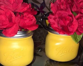 Set of 2 Gold Wide Mouth Mason Jars Centerpieces  Wedding Home decor