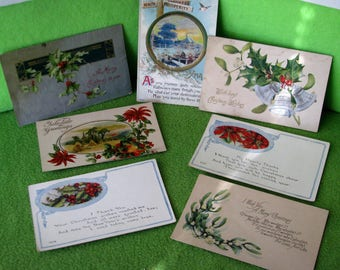 Antique Christmas Post Cards, Lot of 7, Unused, From The Early 1900's