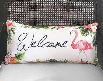Tropical Welcome Flamingo Pillow -  Linen Cotton Blend