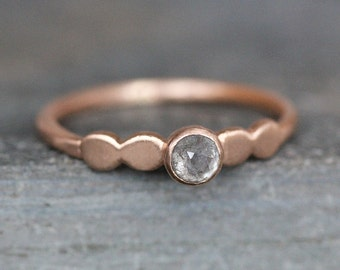 Solid 14K Rose Gold Diamond Engagement Ring -  3.5mm Conflict Free Natural Blue / Gray Rose-Cut Diamond - READY TO SHIP (Size 6, 7)