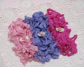 15 yards of Pretty Ribbons-LOVE SPELL-Seam Binding-Crinkled-ATC-Supplies