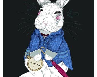 White Rabbit - Alice in Wonderland Print