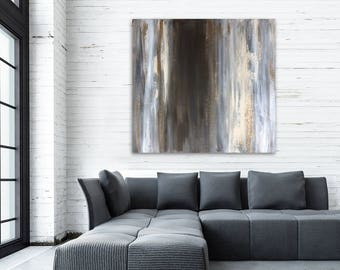 """Large black white brown silver gold abstract painting - acrylic on canvas - 36""""x36"""" - modern decor - contemporary bold minimal"""