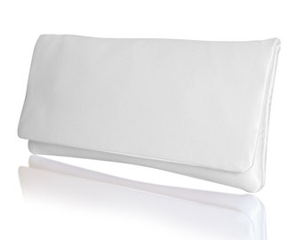Wedding bridal clutch in plain ivory white satin HAPPILY EVER AFTER purse