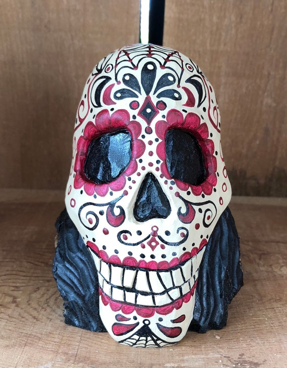 HAND CARVED original Halloween Day of the Dead skull from 100 year old Cottonwood Bark