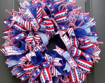 Memorial Day Wreath, Patriotic Wreath, 4th of July Wreath, Veterans Gift, Veterans Wife, Memorial Wreath, Patriotic Decor, 4th of July Decor