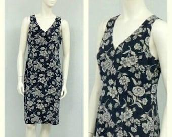 Vintage 90s Ralph Lauren Midnight Blue Silk Dress, Floral Dress, Sheath Dress, Knee Length Dress, Sleeveless Dress, Summer Dress
