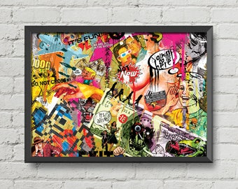 Original digital print My lovely chaos 1 art collage new retro vintage color