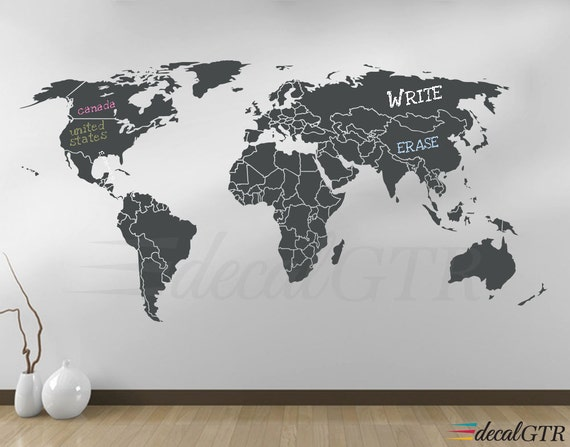 World map countries wall decal borders outlines dry erase world map countries wall decal borders outlines dry erase chalkboard vinyl wall art decor sticker erasable white black board v008 gumiabroncs Gallery