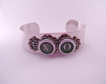 Hugs and Kisses X O Vintage Typewriter Key Cuff on Filigree Bezel