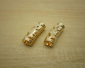 2PCS gold Dreadlock beads dread JewelryMaking Accessories 4.5mm hole