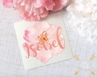 Watercolor Flower Monogram Decal, Glossy and Glitter Flower Decal, Tumbler Decal, Watercolor Peonies, Printed Decal