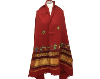 Red Hand-woven Shawl/Wrap/Oversized Scarf Hand embroidered Shawl with Kutchi Mirror-work/Mirror Embroidery
