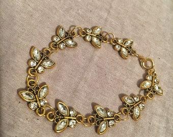 Butterfly Charm Bracelet Vintage Crystal Gold Butterflies Dainty Bracelets