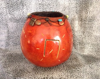 Carved Tan Gourd