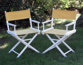 White And Yellow Directors Chairs   Wood/Canvas Adult Folding Chair   Fun  Beach