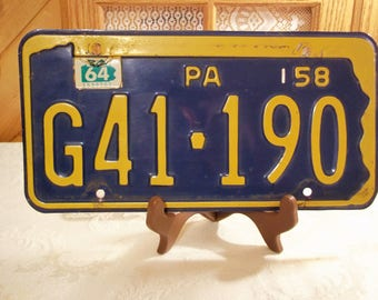 Vintage 1958 PA License Plate Keystone State Blue \u0026 Yellow Man\u0027s Cave Classic Garage Vintage Decor & Pa license plate | Etsy