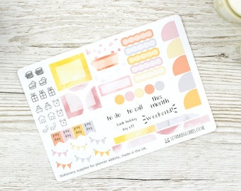 Watercolour Hobonichi Monthly Planner Stickers; Spring Kit; Summer Kit; Monthly Sticker Kit; Hobonichi Techo Cousin Sticker