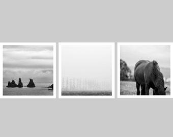 Small art gift - Stocking stuffer - Iceland print set of 3 - Sale 25% OFF - Black and white minimal photos - Travel wall decor set - 5x5