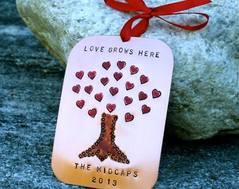 Hand Stamped Copper - LOVE GROWS HERE - Family Ornament