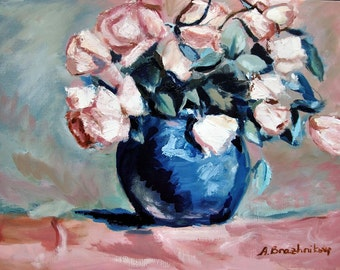 Pink Roses in Blue Vase, Original Oil Painting, Still Life Flowers Realistic - Vase Of Pink Roses - Contemporary Painting On Canvas