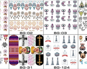 Nail Art Stickers Water Slide Decals Labels Tattoos Trendy Fashion Popular Style Christmas Happy New Year 2018 2019