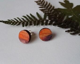 Wood Hand Painted Circle Stud Earrings in Orange and Purple (1cm diameter)