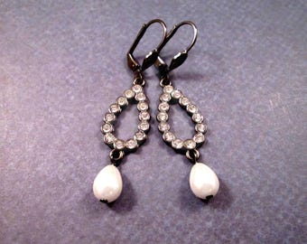 Rhinestone Earrings, White Glass Rhinestones and Pearls, Gunmetal Silver Drop Earrings, FREE Shipping U.S.