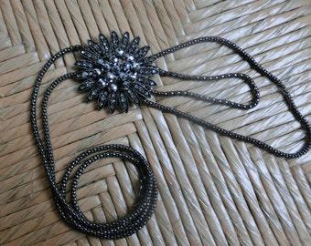 Long chain with flower pendant, necklace, metal chain, bijouterie, цепочка с подвеской цветок, длинная цепочка