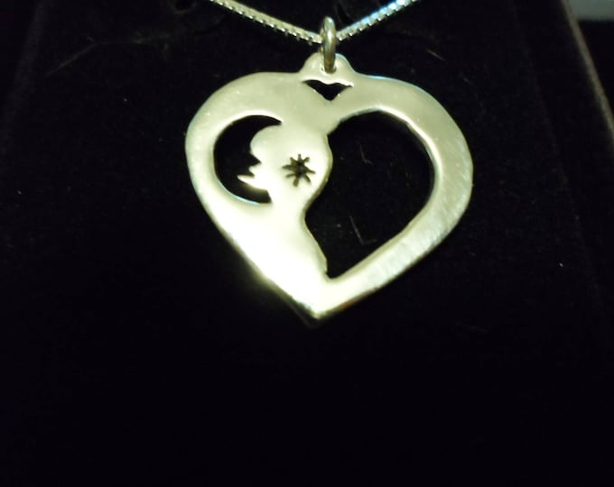 moon and star necklace w/sterling silver chain quarter size