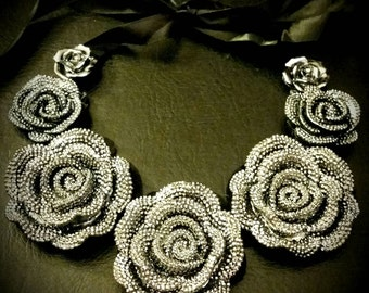 AfterLife Accessories  Silver Flowers Ribbon Bib Necklace