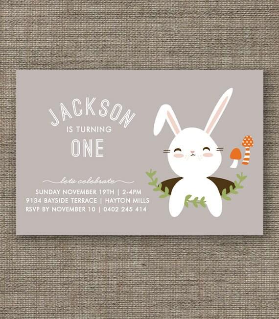 Items similar to Bunny Rabbit Woodland Party Invitation for kids