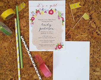 Brown Kraft Paper & Floral Invitation - DIGITAL FILE