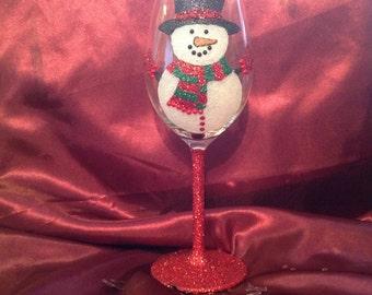 Christmas glitter wine glass, snowman design
