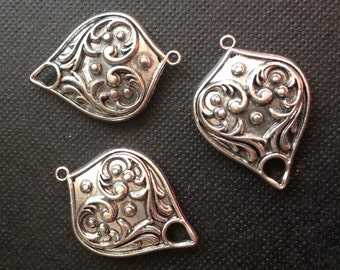 10 pcs - Antique Silver teardrop charm connector  pendant - chandelier components - Lead and nickel free