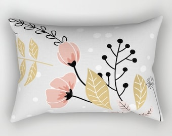 Flowers in gold and pink decorative throw pillows pillow cover home decor housewares bedding valentine's day wedding pillow dots nature