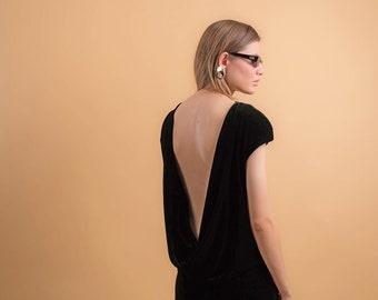 90s Velvet Dress / Backless Dress / Vintage 90s Dress / 90s Minimal Dress Δ size: XS/S