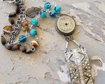 Vintage Assemblage Necklace Repurposed Rhinestone Brooch Old Watch Beaded Jewelry