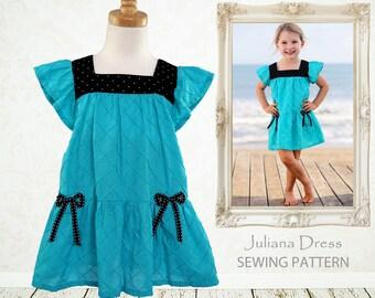 GIrls dress pattern PDF, Childrens sewing pattern, girls clothing pattern, sewing pattern kids, toddler dress, JULIANA