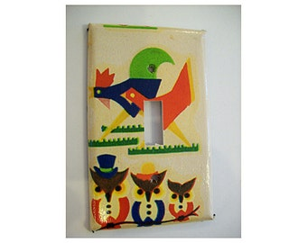 1950s rooster switch plate retro vintage owl rockabilly kitchen mid century kitsch switch cover