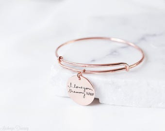 Custom Handwriting Bracelet - Engraved Signature Disc Bracelet - Actual Handwriting Disc Bracelet - Adjustable bracelet - Christmas Gift
