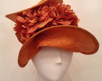 "Couture Derby Fascinator- Headpiece - Hat- Parisisal- Persimmon-""Alicia"" - Kentucky Derby- Wedding - Church-Women's Headwear- Millinery"