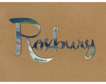 Roxbury Boston Typography Print